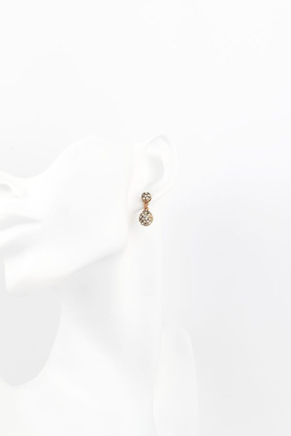 Bronz & Kristal Top Küpe